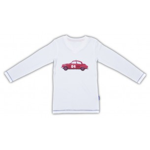 White Long Sleeved Pyjama Top with Car