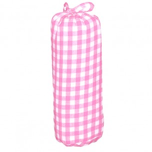 Single Bed Fitted Sheet with Checks in Pink & White