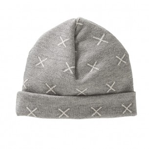 Light Grey Baby Hat with White Crosses