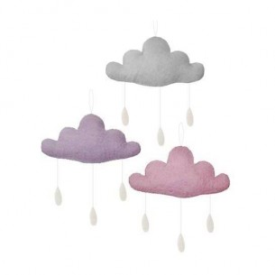 Set of 3 Clouds with Drops in Grey, Pink & Purple
