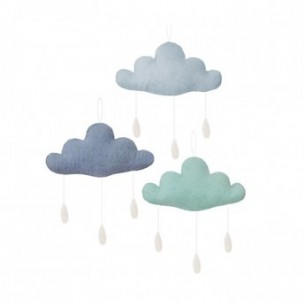 Set of 3 Clouds with Drops in Grey, Blue & Pastel Green