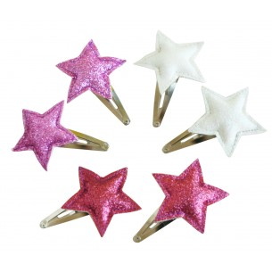Hair Clips with Glitter Stars