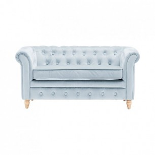 Velvet Chesterfield Sofa in Light Blue