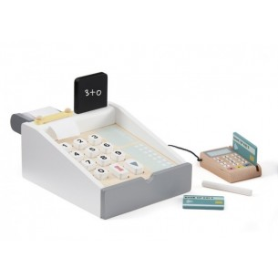 Grey White Wooden Toy Cash Register