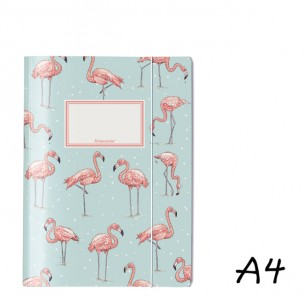 DIN A4 Elasticated Folder in Turquoise with Flamingos