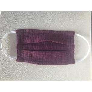 Muslin Mouth and Nose Mask for Children and Adults in Bordeux Red - Age 8+ Years