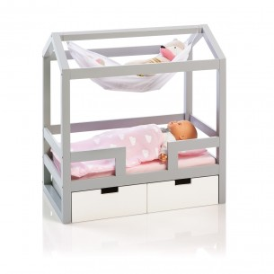 Doll House Bed Barlia in Grey/ White