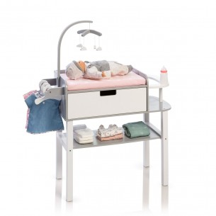 Doll Changing Table Barlia in White/ Grey