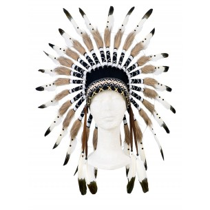 Ituha Chief Indian Head Dress in Brown/ Black