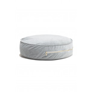 Round Velvet Floor Cushion in Grey