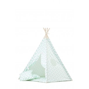 Teepee Set with Mint Herringbone