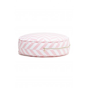 Round Herringbone Floor Cushion in Pink
