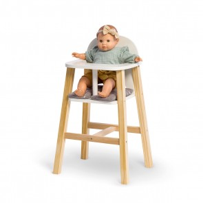 Wooden Doll High Chair Viola in White/ Natural/ Grey