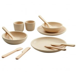 Wooden Tableware Set Natural Round