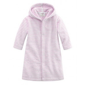Bathrobe with Buttons in White & Rose Striped