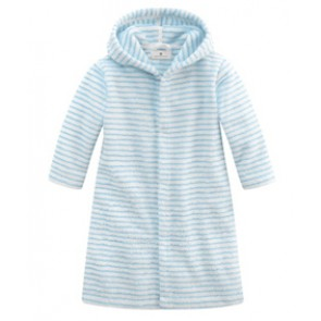Bathrobe with Buttons in White & Light Blue Striped