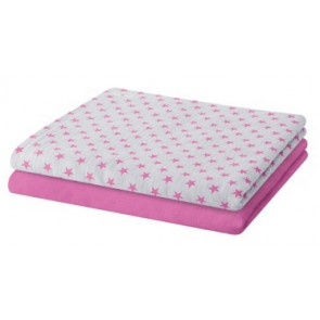Set of 2 Swaddles with Pink Stars