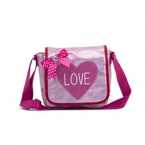 Shiny Pink Bag with Red Love Heart