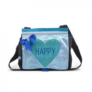 Shiny Blue Bag with Mint Happy Heart
