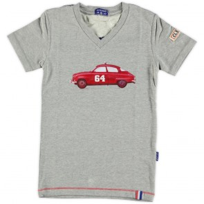 Boys T-Shirt in Grey Melange with Car