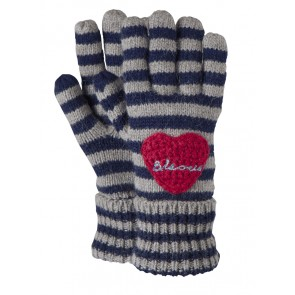 Fay Gloves Stripy Navy