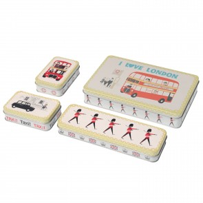 A Set of 4 Retro I Love London Tins