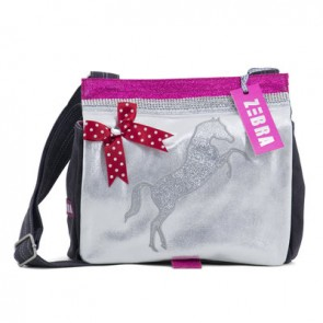 Silver Canvas Bag with Glittery Horse