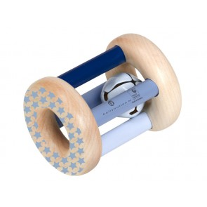 Wooden Blue Rattle 'Rolling Stars'