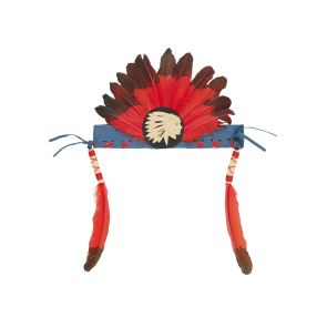 Anoki Indian Feather Head Band Red/ Black