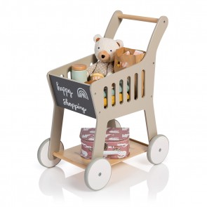 Wooden Shopping Trolley Rubus in Warm Grey / Natural