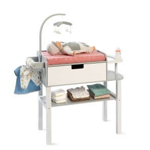 Doll Changing Table Viola in Grey/ White