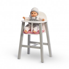 Wooden Doll High Chair Viola in Grey/ White/ Pink