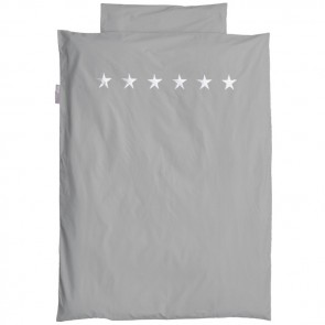 Grey Single Bed Duvet Set Stars