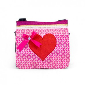 Flowery Canvas Bag with Pink Heart