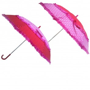 Umbrellas with Dots and Pink Flowers
