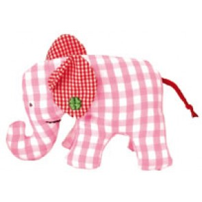 Checked Pink Mini Elephant Rattle