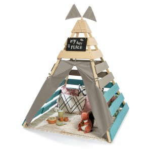Outdoor Teepee 'Dreamer' in Natural/ Warm Grey/ Petrol