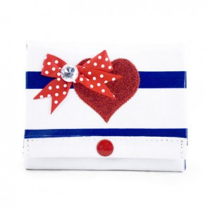 White Purse with Blue Stripes