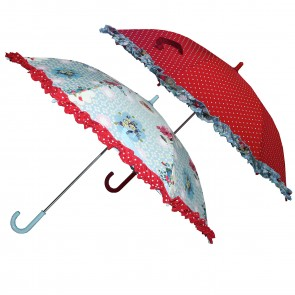 Umbrellas Red with Dots or with a Flower Pattern