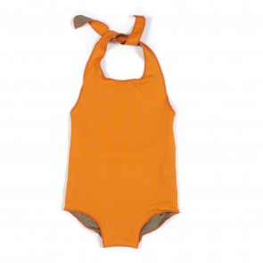 Reversible Halter Neck Swimsuit in Orange & Sand