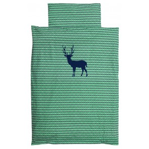 Single Bed Duvet Set with Blue Deer