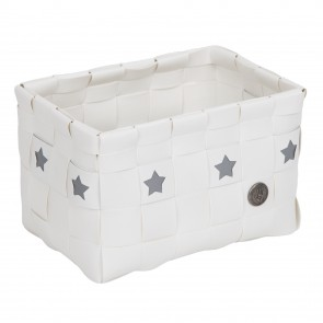 White Toledo Basket with Stars