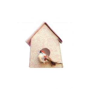 Birdhouse Wall Sticker with Pink Flowers