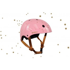 Starling Bike Helmet Bobbin - Pastel Pink with Golden Stars