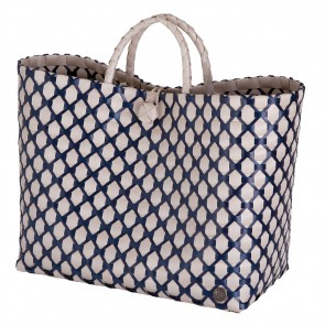 Lima Shopper in Pale Grey with Navy Pattern