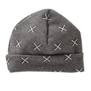 Dark Grey Baby Hat with White Crosses