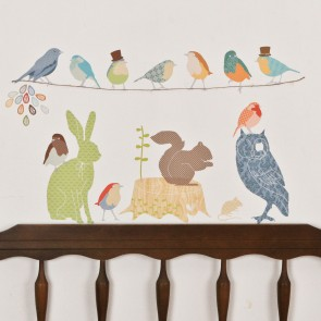 Large Earthy Forest Animals Wall Sticker