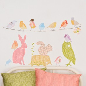 Large Girly Forest Animals Wall Sticker