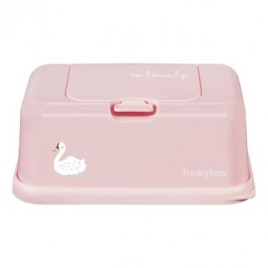 FunkyBox Wipe Dispenser Blush Pink with Swan