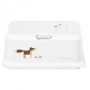 FunkyBox Wipe Dispenser Matte White with Funky Fox